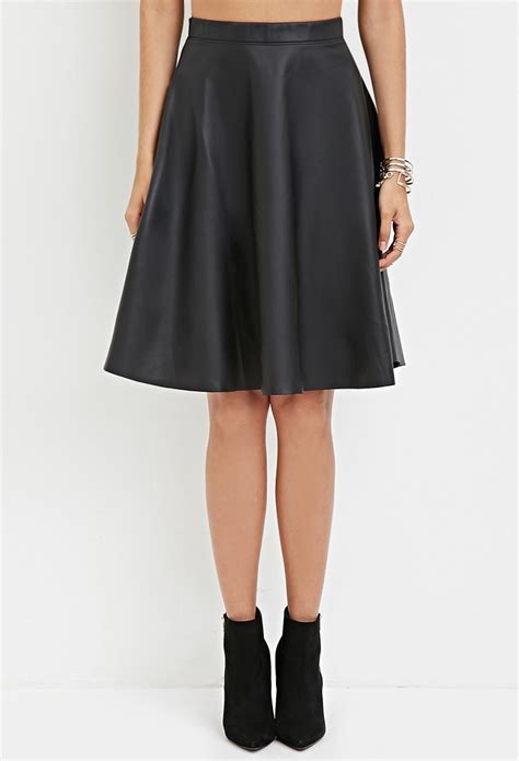 forever 21 faux leather a line skirt in black lyst