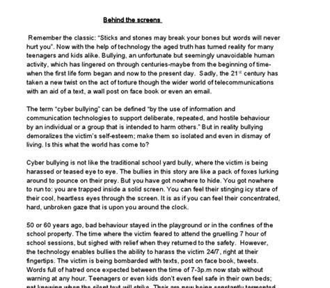 The Trip Of A Lifetime Essay by Cyber Bullying Gcse Marked By Teachers