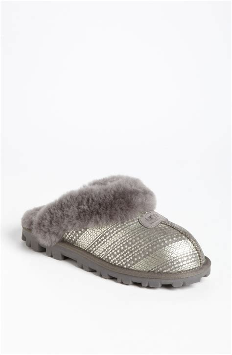 uggs coquette slippers ugg coquette slipper in silver grey lyst