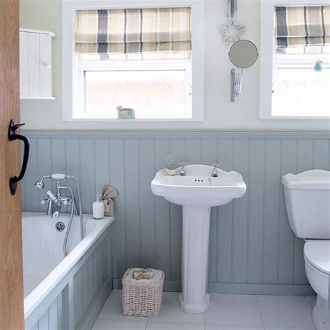grey and white country bathroom with wall panels bathroom decorating ideal home