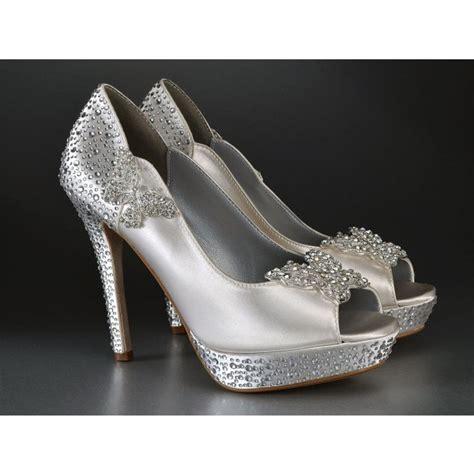 Silver Bridal Heels by S Silver Satin Bridal Heels Peep Toe Rhinestone
