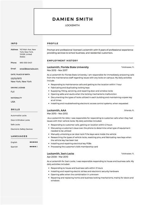 locksmith resume template resumeviking
