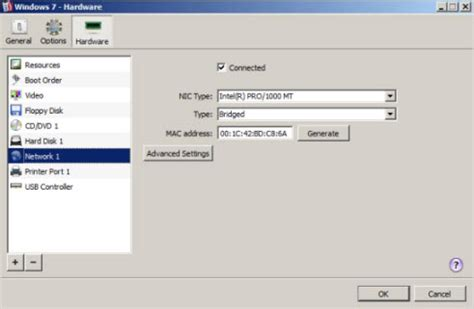parallels management console network adapter settings