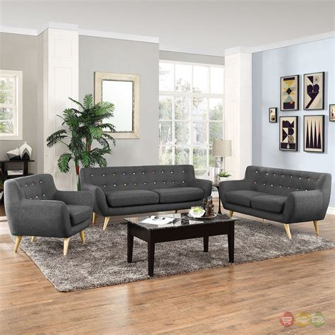 room set mid century modern remark 3pc button tufted living room set gray