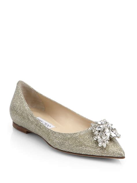 jimmy choo shoes flats jimmy choo gayne embellished woven flats in metallic lyst