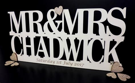 mr and mrs sign for table personalised mr mrs sign freestanding top table wedding