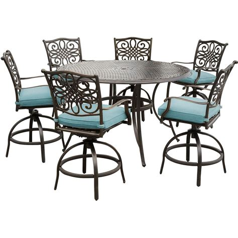 Patio Dining Table And Chairs Hanover Traditions 7 Outdoor Bar Height Dining Set With Cast Top Table And Swivel