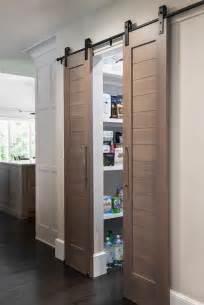 kitchen pantry  black chevron barn doors  rails