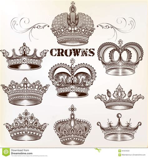 vector set of hand drawn detailed crowns for design stock