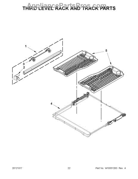 Jenn Air Dishwasher Replacement Racks by Parts For Jenn Air Jdb8700aws1 Third Level Rack And Track Parts Appliancepartspros