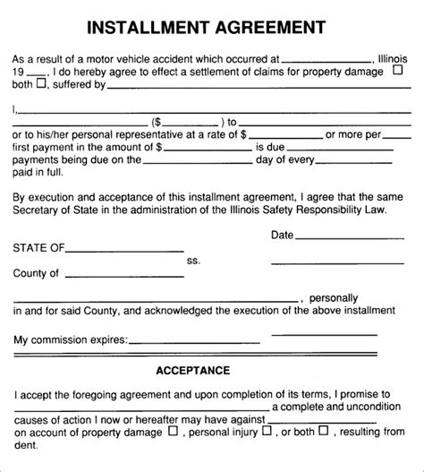 installment plan agreement template installment agreement 7 free pdf