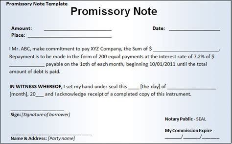 Promissory Note Templates Company Documents Promissory Note Template Doc