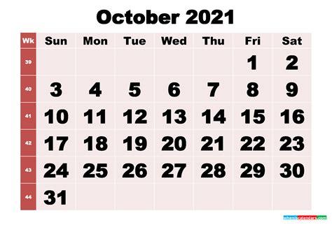 printable monthly calendar october