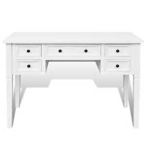 vidaxl co uk white writing desk with 5 drawers