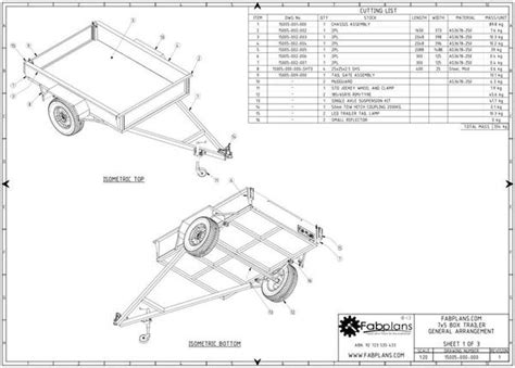 tow boat drawing 7x5 box trailer plans build your own box trailer fabplans
