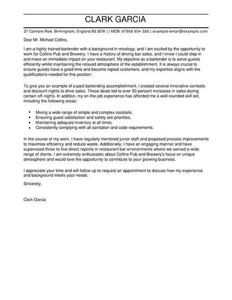 Bartender Cover Letter Examples for Restaurant Bar