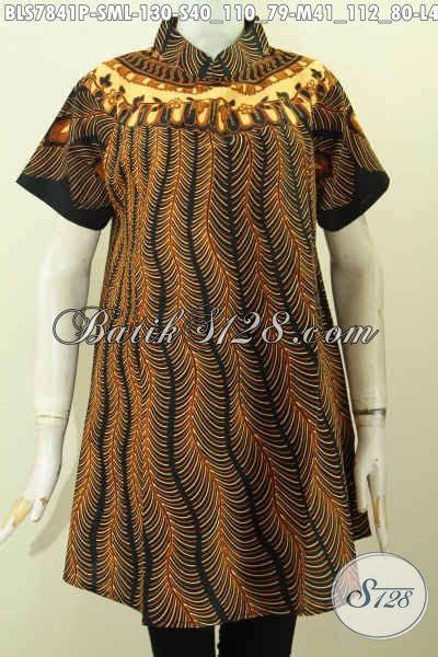 blus batik motif bulu merak baju batik kerah shanghai