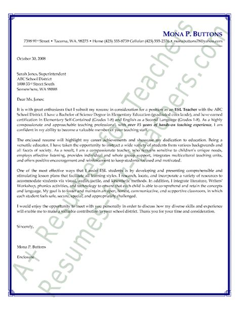Letter Of Intent Exles For Teachers Esl As A Second Language Cover Letter Sle