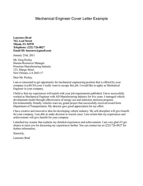 engineering cover letter exles 10 sle cover letter for a mechanical engineer writing