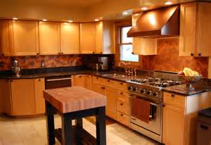 modern kitchen with an exotic bamboo backsplash copper