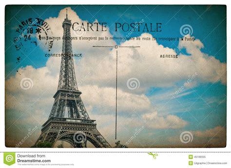 postale francese cartolina francese antica da parigi con la torre eiffel e