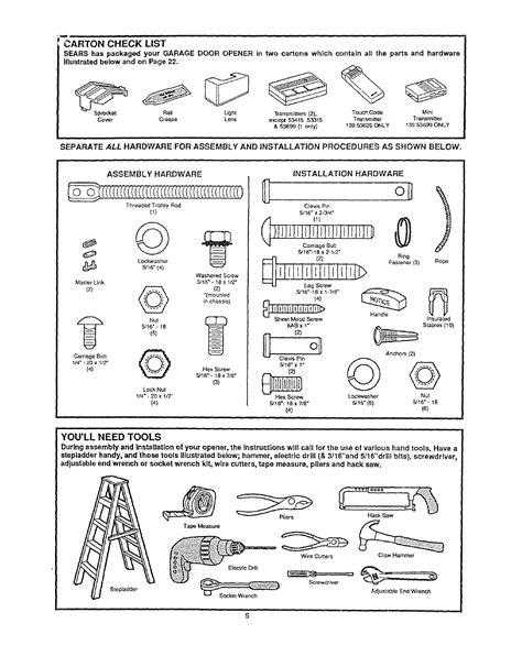 garage door parts sears garage door parts and manuals