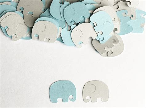 Elephant Baby Shower by Baby Shower Decoration Elephant Confetti Blue Gray Elephant