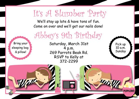 free sleepover invitations templates slumber birthday invitation pajama sleepover