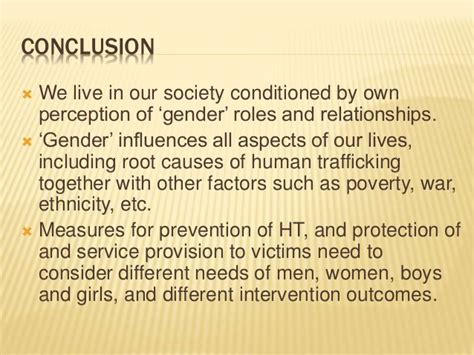 Trafficking Essay Conclusion by Gender And Human Trafficking For Department Staff