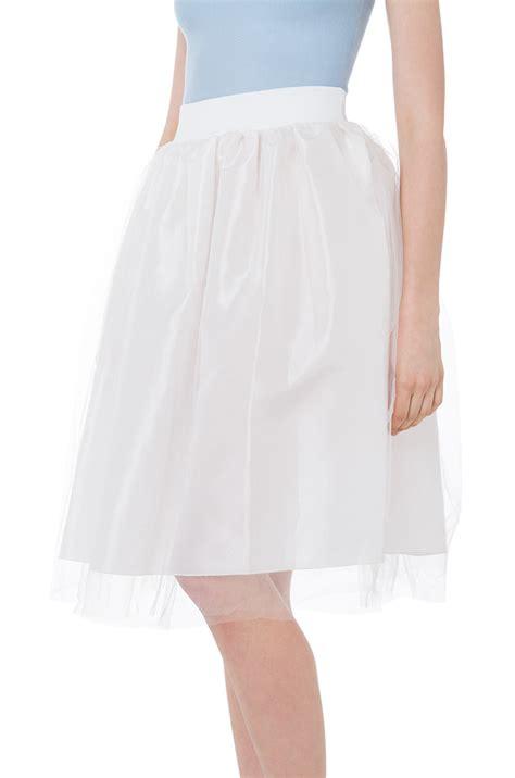 end up here white midi tulle skirt in white lyst