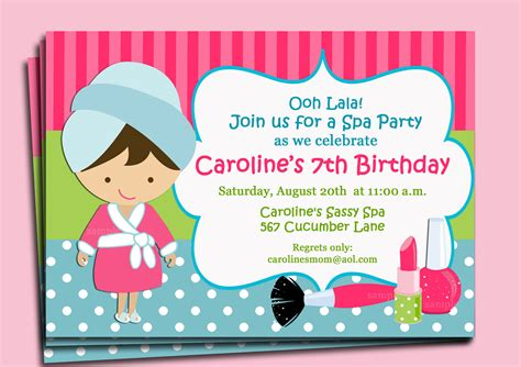 spa birthday invitation template spa invitation printable or printed with free by