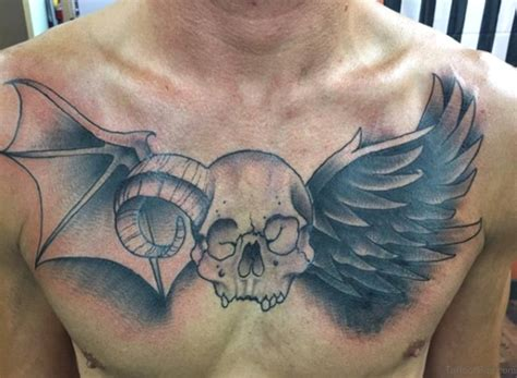 skull with wings tattoo 81 alluring wings on chest