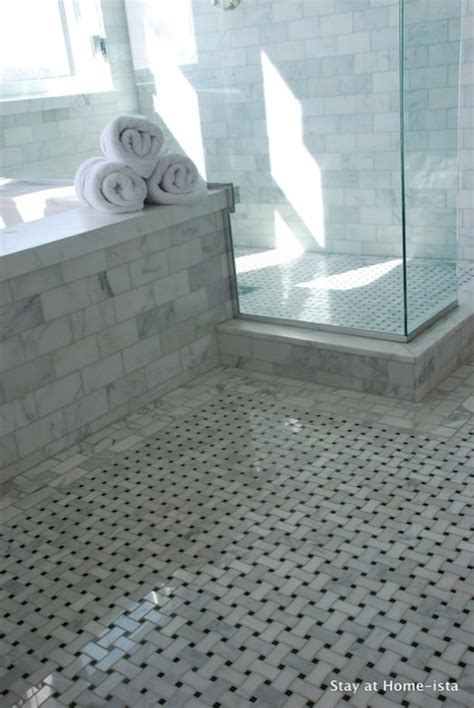 marble basketweave floor transitional bathroom stay at homeista
