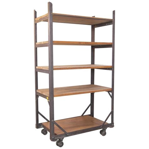 industrial five tier wood and metal rolling bar shelving