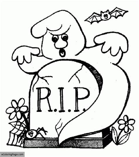 happy ghost coloring pages happy halloween rip ghost and bat coloring page