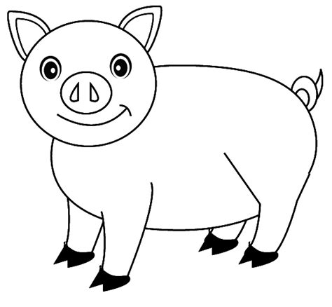 pig drawing coloring pages