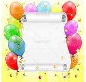 Birthday Frame With 3D Transparent Balloons Scroll Paper