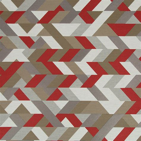 geometric pattern material red grey geometric upholstery fabric modern red taupe