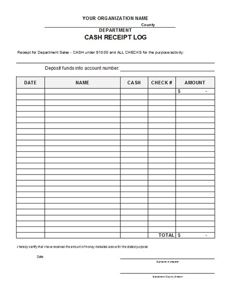 receipt log book template receipt log template