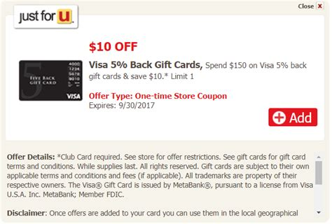 Five Back Gift Card - make money safeway vons shaw s acme visa five back gift card deal miles to memories