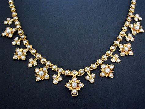 antique calibrated half pearl paved gold necklace