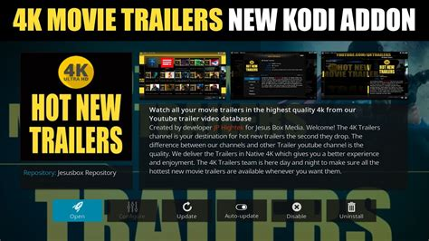 best 4k movies 4k movies trailers new kodi addon watch latest trailers