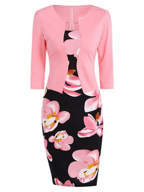 Dress Pink Fit L pink l floral knee length pencil fitted work dress