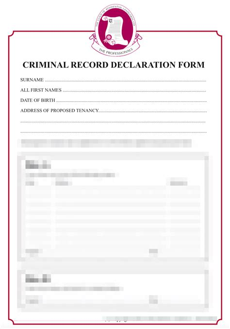 Criminal Record Template Criminal Record Declaration Grl Landlord Association