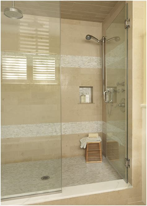 Bathroom Tile Accessories Bathroom Modern Boston Glass Shower Door Horizontal Stripes Mosaic Tiles Neutral Colors