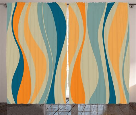 art curtains retro vibrant stripes abstract 60 s hippie style art print