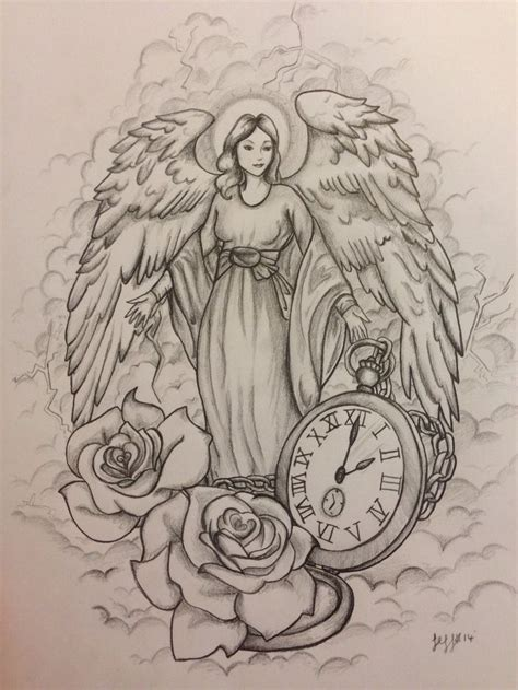 angel tattoo design guardian design commission by jeffica