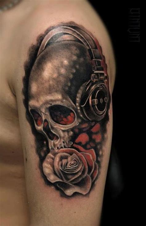 skull music tattoo designs best 25 headphones ideas on tattoos