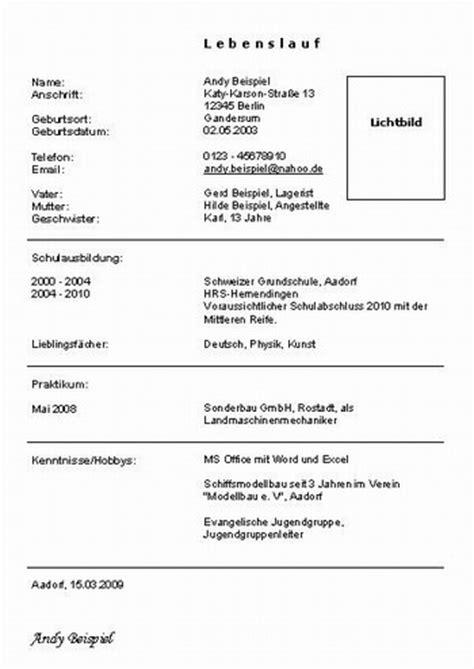 Bewerbung Fur Wohnung Formular Lebenslauf Vorlage Sch 252 Ler Lebenslauf