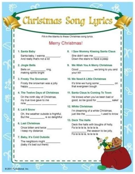 printable lyrics website christmas song lyrics fill in the blanks game i bet this
